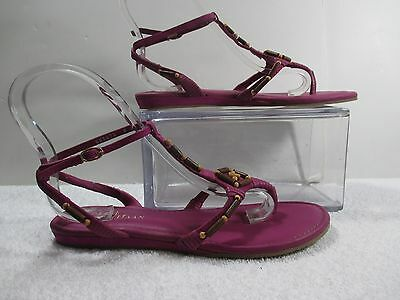 9622420dc COLE HAAN PURPLE Beaded Leather Larissa T Strap Thong Sandals 8M ...
