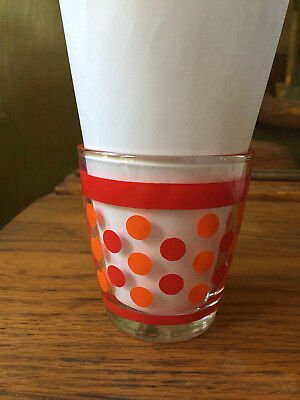 Red Orange Polka Dots Bands 8 oz Sour Cream Glass
