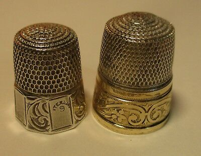 2 Vintage Sterling Silver Simon Brothers Paneled Decorative Thimble Sizes 9 & 12