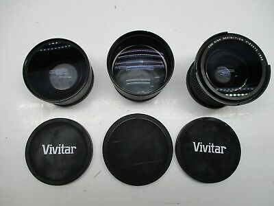 Vivitar HD4 MC AF Telephoto Converter 2.2X & 0.43X & 0.35 HD Fisheye Lens Lot 3