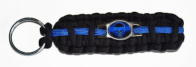 Thin Blue Line Police PUNISHER Emblem LE - 550 Paracord *King Cobra* Key Chain