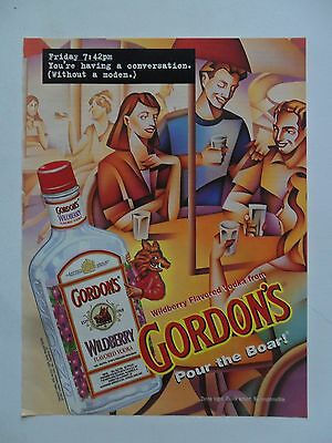 1997 Print Ad Gordon's Vodka ~ Having a Conversation Without a Modem ~ Boar ART