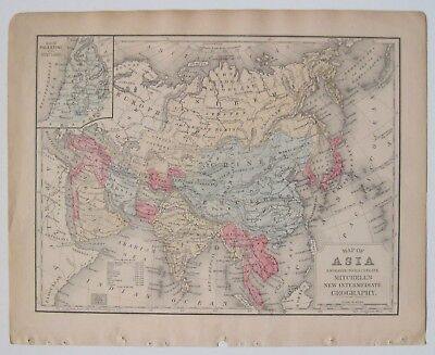 1884 Mitchell Copperplate Map of ASIA