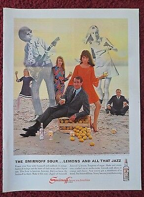 1966 Print Ad Smirnoff Vodka ~ Smirnoff Sour Lemons and All that JAZZ Beach Band
