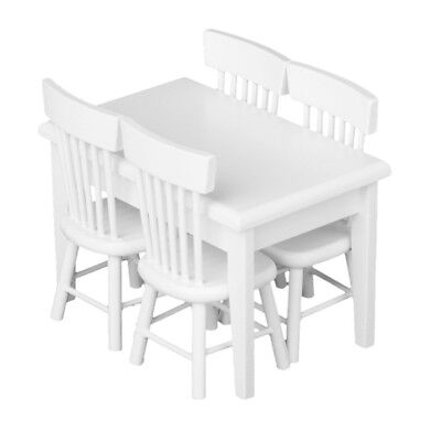 5 piece Model table chair a Manger Set Furniture Doll House Miniature White H1K1