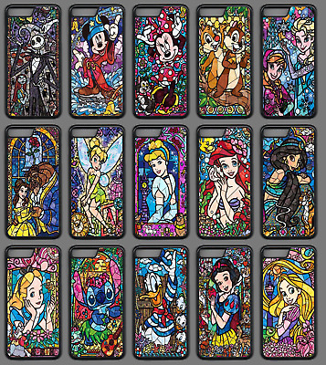 best sneakers 31419 d0462 STAINED GLASS DISNEY CHARACTER Phone Case Cover Black iPhone 4 5 SE 6 7 8 X  Plus