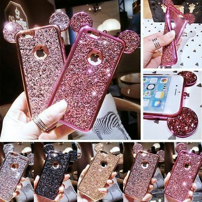 For Samsung Galaxy S9 Plus Bling Diamonds Mickey Mouse Soft Rubber Case Cover