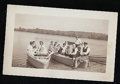 Antique Vintage Photograph Large Group of People Sitting in Seperate Rowboats