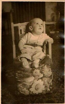 Vintage Antique Photograph Adorable Little Baby Sitting in Small Chair