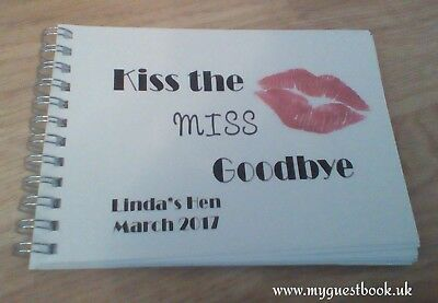Personalised Birthday Hen Party Keepsake Message / Guest Book - Kiss the Miss
