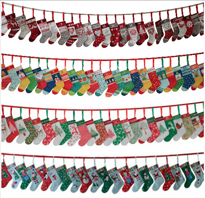 Mini Stockings Advent Calendar Panel, Bunting, Scandi, Jolly, Novelty, Makower