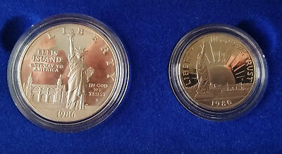1886-1986 UNITED STATES LIBERTY COINS - ELLIS ISLAND SILVER PROOF SET w/Docs