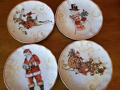 NEW Williams Sonoma TWAS THE NIGHT BEFORE CHRISTMAS Appetizer Plates - S/4 NIB