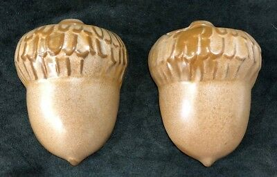 Matching Pair of Vintage Frankoma Brown Acorn Wall Pockets- #190...... Perfect
