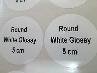 100 White Glossy Round Personalized Waterproof Name Stickers Labels 5cm Tags