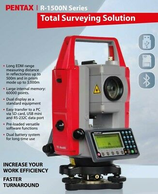 Pentax Reflectorless Total Station, R-1505-N, New & Calibrated