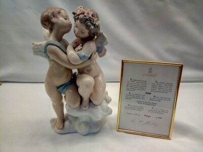 LLADRO With COA Heaven And Earth Reference #1824 Stamped Boy Kissing Girl BROKEN