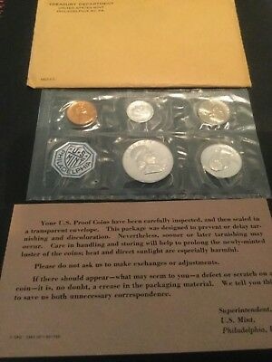 Excellent 1962-P Uncirculated U.S. Mint Proof (5) Coin Set w/ Envelope and COA