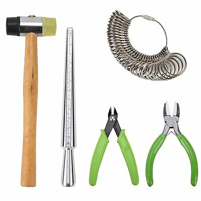 All-In-1 Jewelry Tools Kit (Hammer,Mandrel, Rings&Gauge,Jaw Pliers,Flush Cutter)