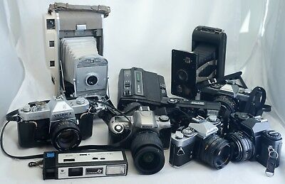 LOT of 10 Vintage Film Camera Collection 35mm SLR Polaroid Nikon Minolta Yashica
