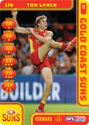 2018 TEAMCOACH GOLD COAST SUNS TOM LYNCH # 176 COMMON CARD AFL free post