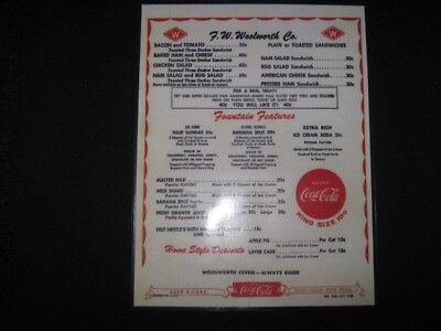 woolworth retro diner menu coca cola laminated