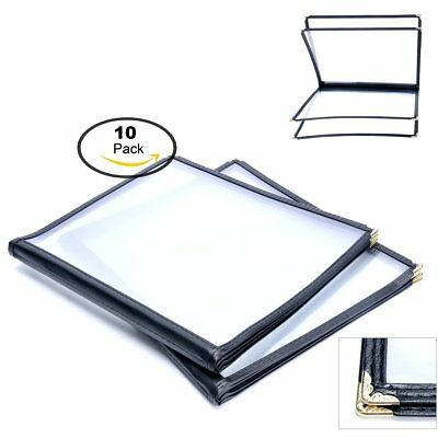 """(10 Pack) 4 Page 8 View Menu Covers 8.5"""" x 11"""" Protective Corner Black"""
