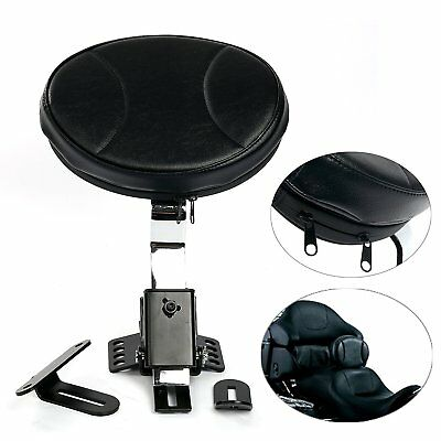 Motorcycle PU Detachable Adjustable Rider Driver Backrest Pad Harley Touring