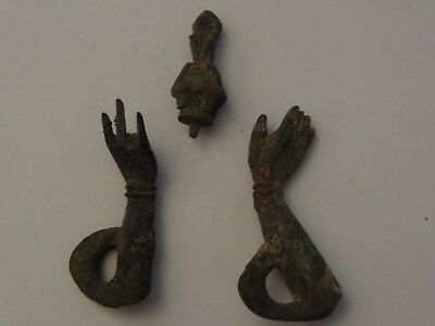 Antique Tibetan Buddhist Cast Brass Mudra Statue Arm With Head Ornament