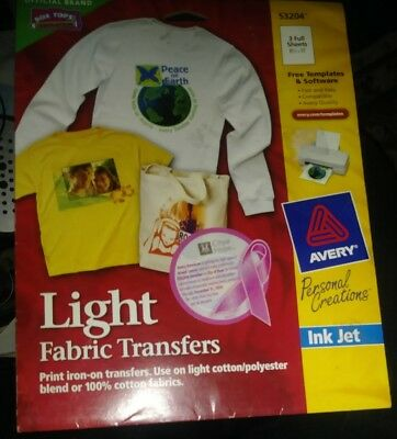 avery light fabric print new iron on transfers 3271 templet 6 sheets ink jet