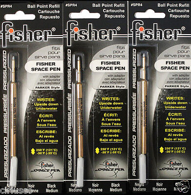 3 PACK Black Ink Ballpoint Pen Refills for Tactical and Fisher Bullet Space Pens