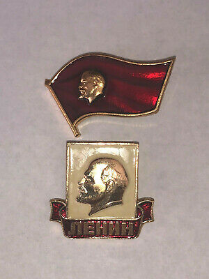 USSR Soviet Russia Communist Propaganda Lenin Pin Badges Set of 2 Red Gold White