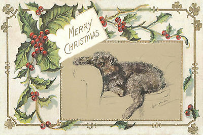 Chocolate Poodle Dog by Lucy Dawson 1946 New Blank Christmas Note Cards