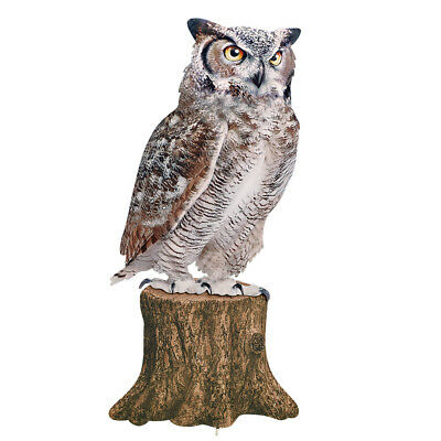 Realistic Owl on Tree Stump Metal Yard Stake Woodland Garden Art Decoration