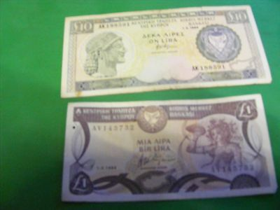 Lot of 2  CYPRUS Banknotes,1994,very nice condition & 1 Pound & 10 Pound.