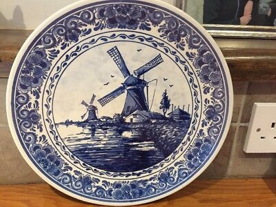 Vintage Wall Hanging Delft Blauw China Plate of Windmills, Hand Painted Holland