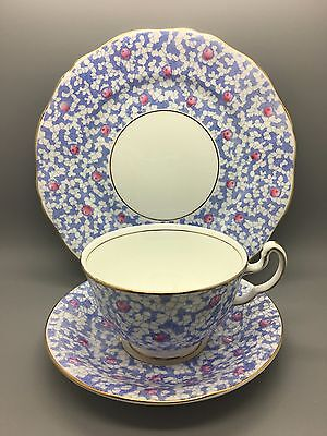 PRETTY ADDERLEY LAWLEY PINK & BLUE TRIO 1930's  ART DECO - CUP SAUCER PLATE