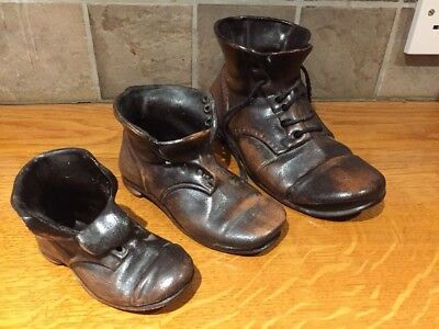 Set of Three Charming & Unusual Brown Pottery Boots, Ornamental/Flower Display