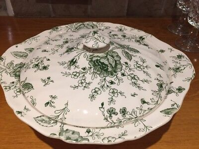 Pretty Vintage Johnson Bros Green Rose Chinz Serving Dish with Lid