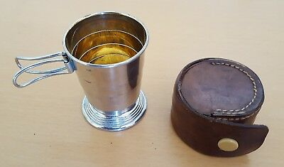 Antique / Vintage Metal Collapsible Stirrup / Travel Cup with Leather Case
