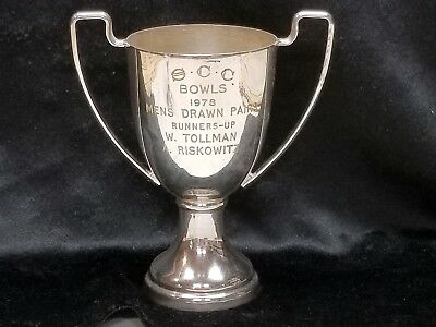 South Africa Silverplate Sharon Club Bowls Trophy Cup - Men's Drawn Pairs 1978
