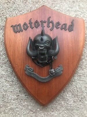 Motorhead custom made Shield Plaque, cast metal and hard wood and engraved !!!!!
