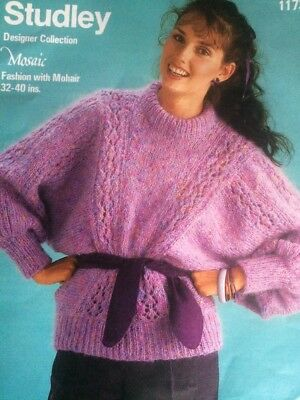 KNITTING PATTERN WOMENS ladies vintage batwing style sweater jumper ...