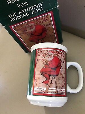 Rockwell Saturday Evening Post Christmas Classic MUG Santa Claus Around World