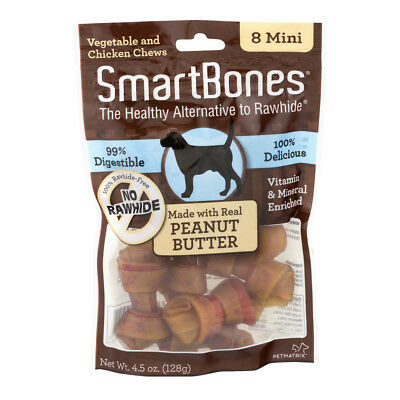 Petmatrix Smartbones Peanut Butter Dog Chew Treat Rawhide Dental Care Mini 8 Pk
