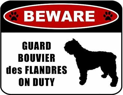 Beware Guard Bouvier des Flandres on Duty (silhouette) Laminated Dog Sign