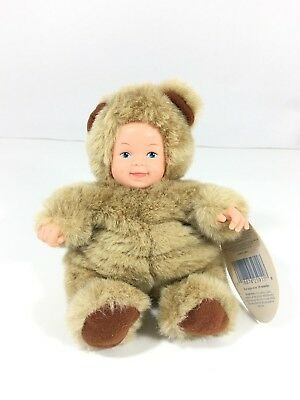 "Anne Geddes Baby Bear Plush Doll 1997 Vintage 9"" Stuffed Animal Brown"