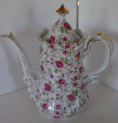 Vintage Lefton Pink Rose Chintz China Coffee Pot