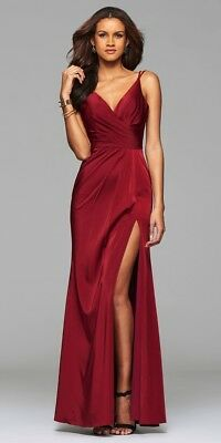 88c854896bb FAVIANA V-NECK RUCHED Open-Back Floor Length Prom Dress 7755 - Wine ...