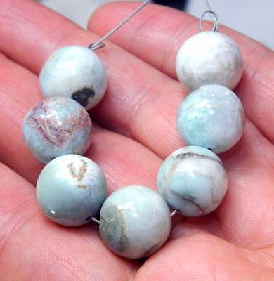 7 RARE 12.5mm ROUND NATURAL UNTREATED CARIBBEAN BLUE LARIMAR BEADS 99cts